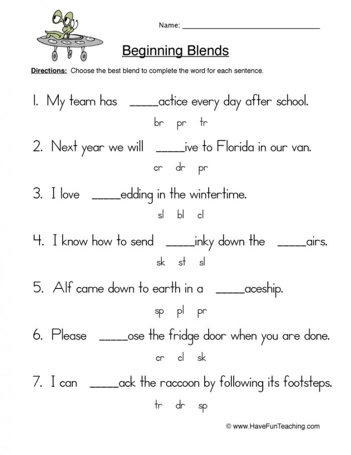 Beginning Blends Fill In The Blank Worksheet Have Fun Teaching