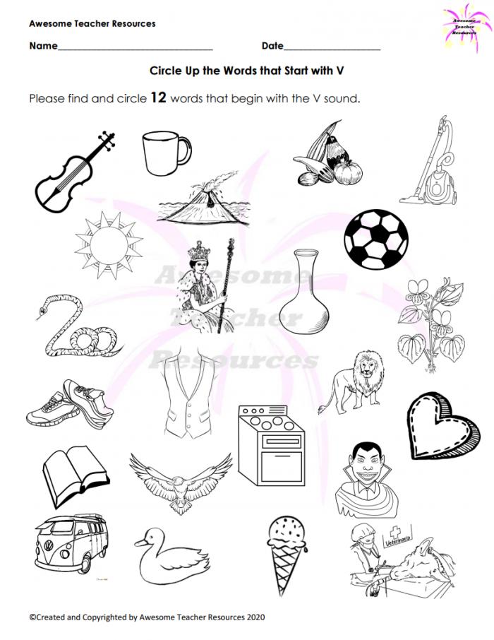 Beginning V Sound Circle Words That Start With V Worksheet