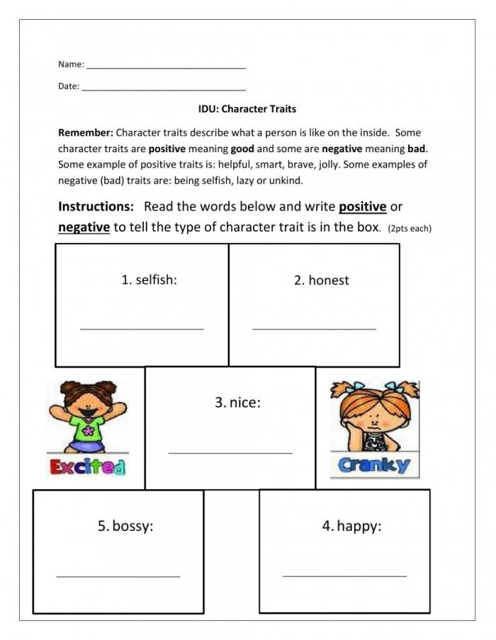 Character Traits Online Worksheet