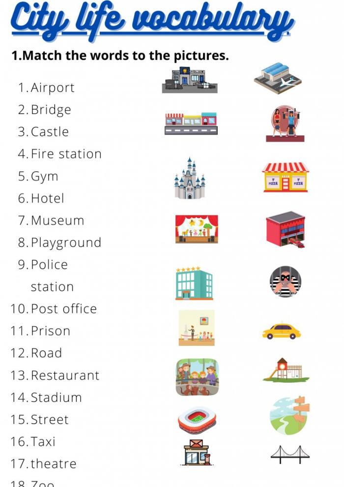 City Life Vocabulary Worksheet