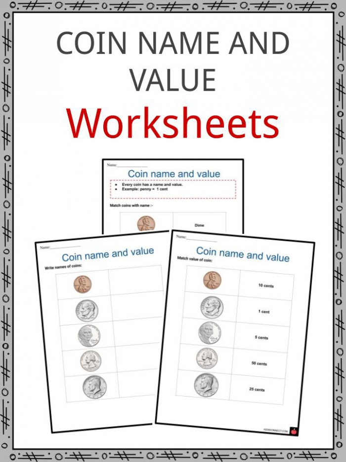 Coin Name Value Worksheets