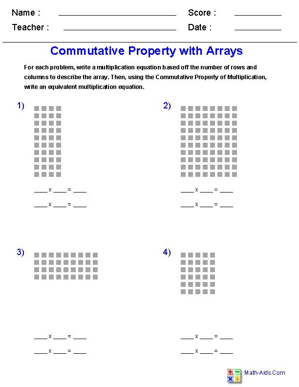 Commutative Property Of Multiplicationbrwith Arrays Worksheets