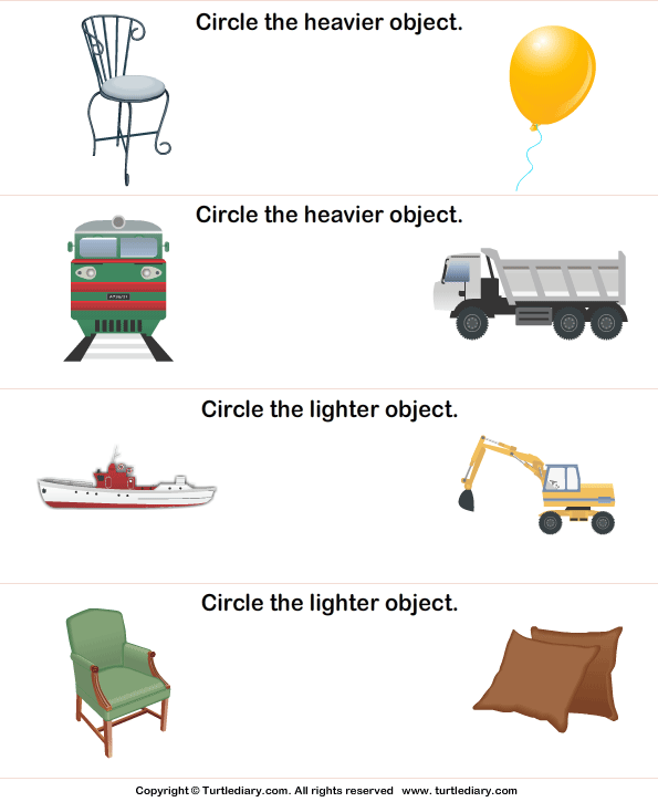 Comparing Objects By Weight Worksheet