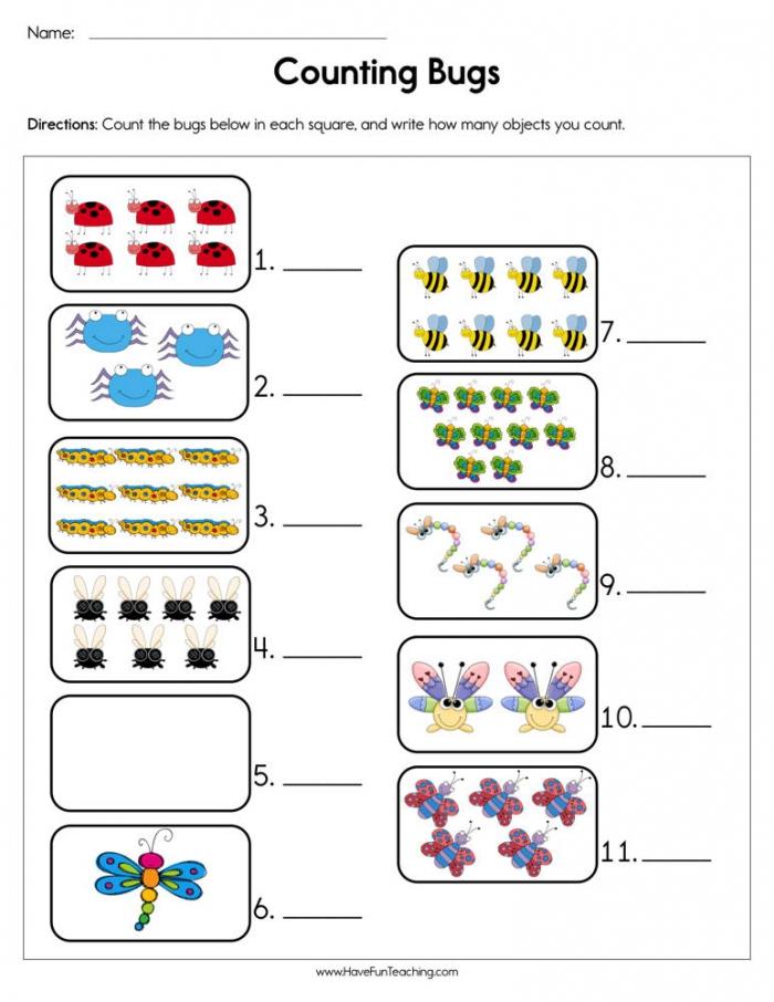 Counting Bugs Worksheet Have Fun Teaching