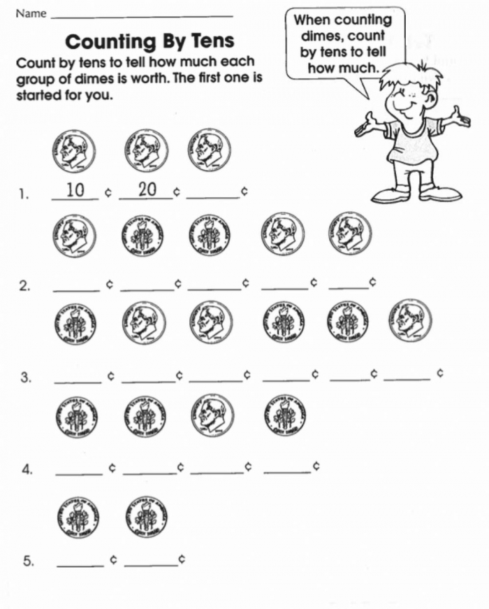 Counting Dimes By Worksheet