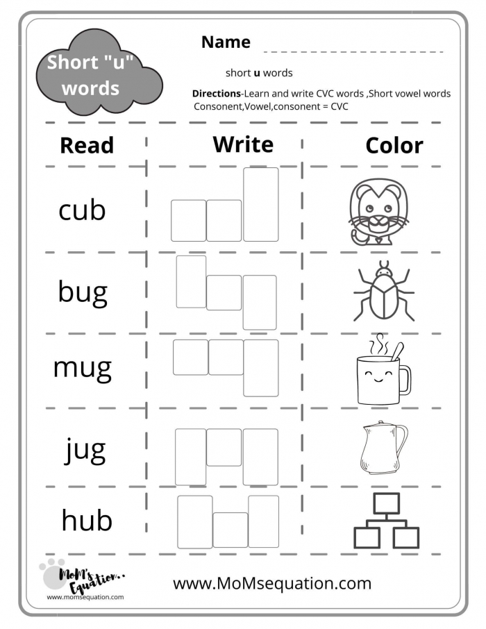 Cvc Words Worksheets A E I O U With Pictures Pdf