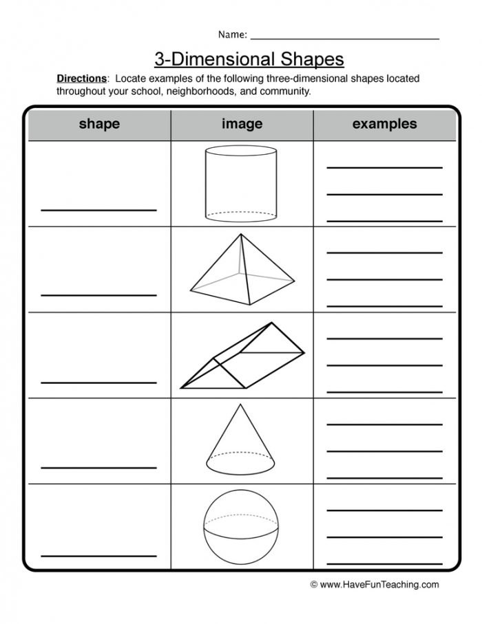 Dimensional Shapes Worksheet Have Fun Teaching
