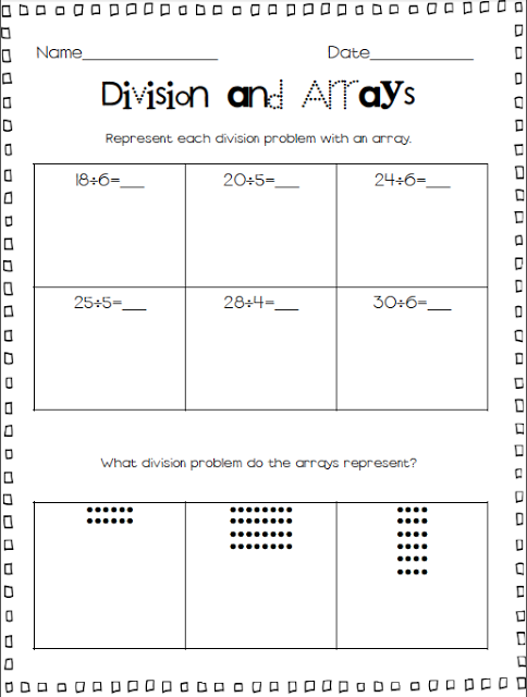 Division Arrays For Division Part One Worksheets