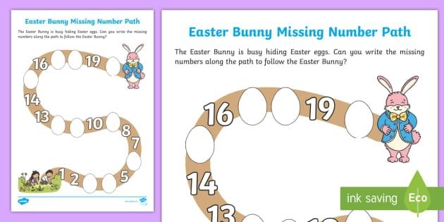 Easter Bunny Missing Number Path Worksheet