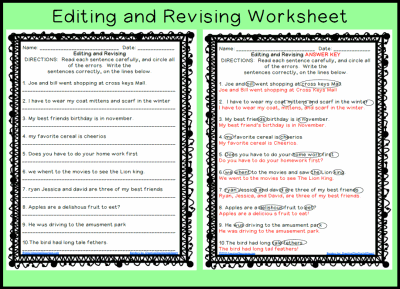 Editing And Revising Worksheet Printable Worksheet With Answer Key