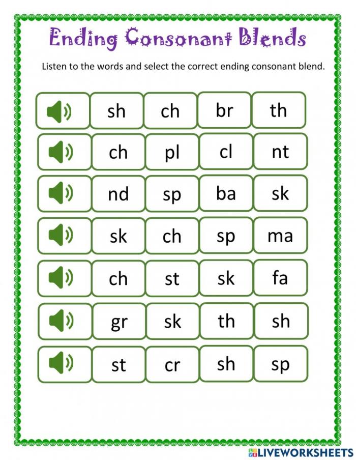 Ending Consonant Blends Worksheet