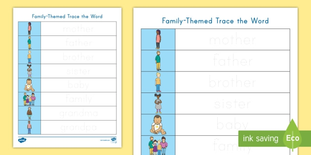 Family Trace The Words Worksheet
