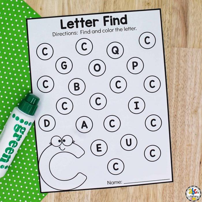 Find The Letter C Worksheets Letter Recognition Activitiy For