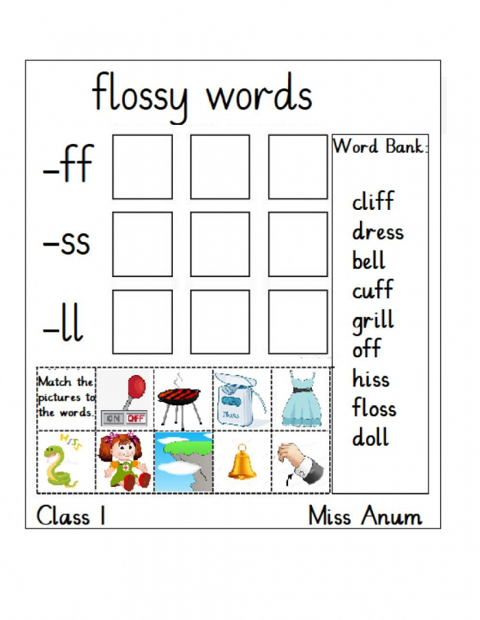 Flossy Words Ff Ss Ll Worksheet