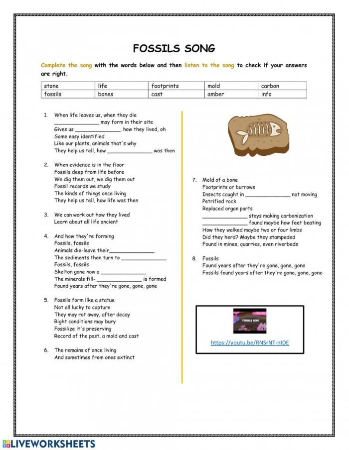 Fossils Song Worksheet