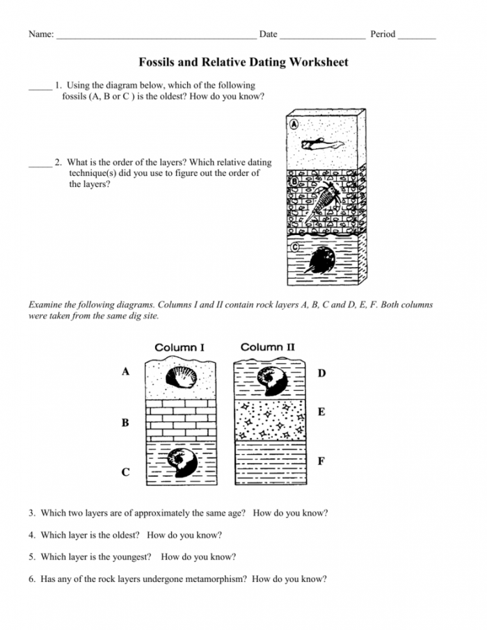 Fossils Worksheet Earth Science