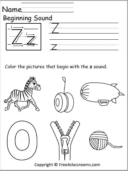 Free Beginning Sound Z Worksheet Z