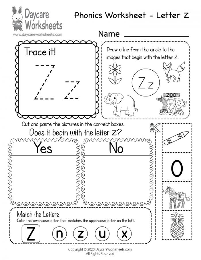 Free Letter Z Phonics Worksheet For Preschool