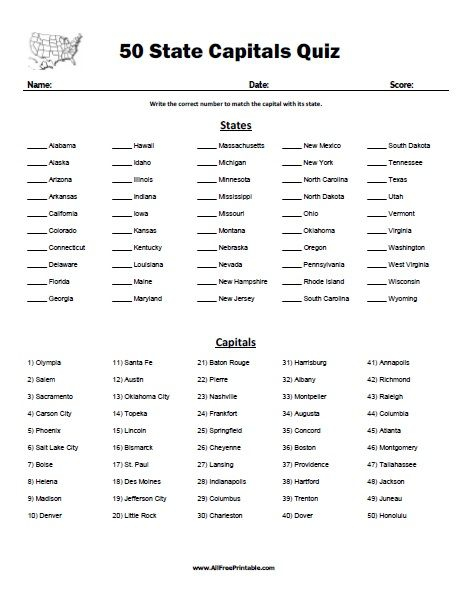 Free Printable State Capitals Quiz Free Printable State