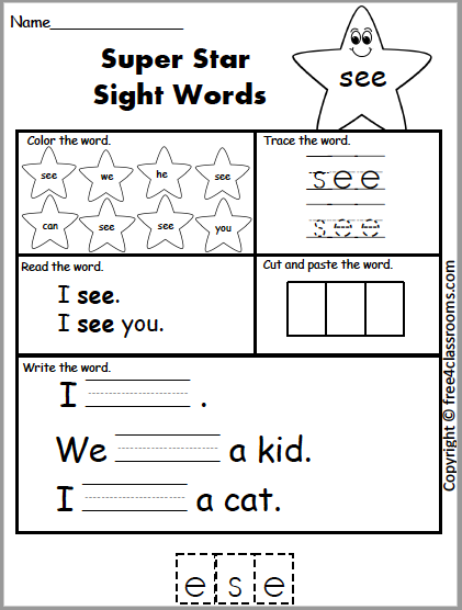 Free Sight Word Practice See
