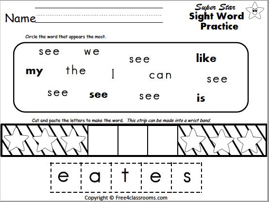 Free Sight Word Worksheet See
