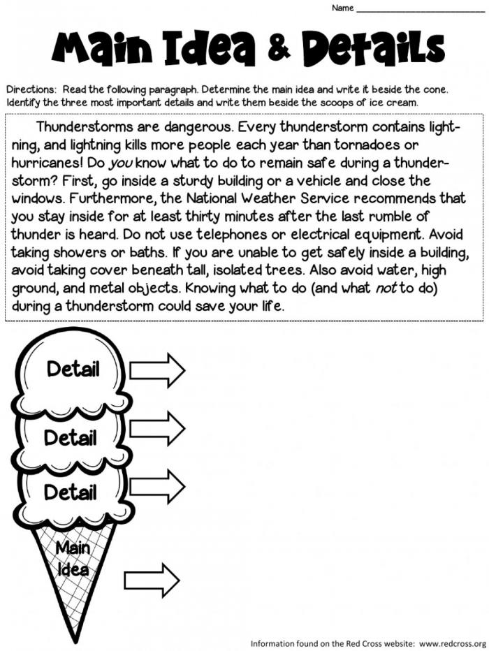 Identifying Main Idea And Details Worksheet