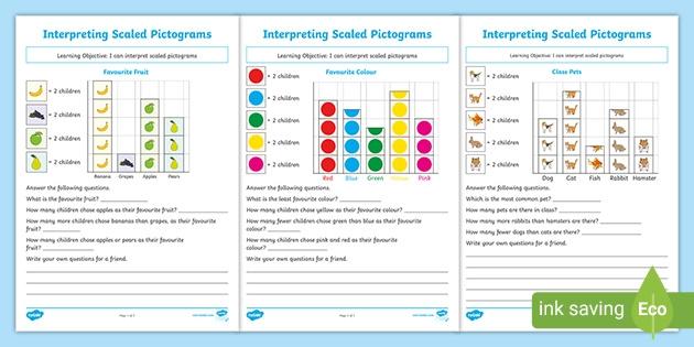 Interpreting Pictograms Activity Worksheets Pack