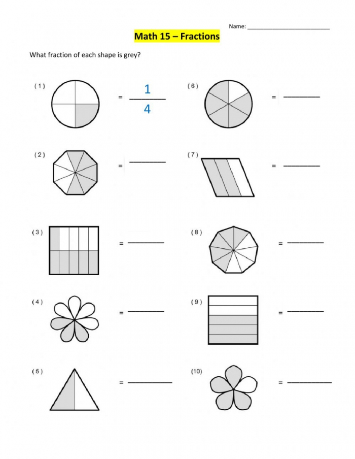 Introduction To Fractions Worksheet