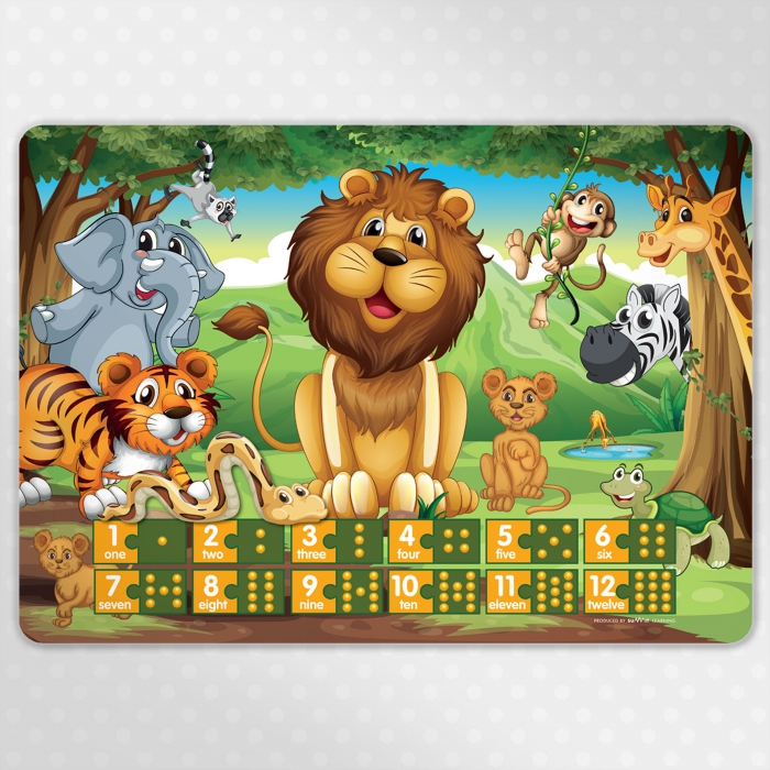 Jungle Numbers Childrens Educational Poster Placemat