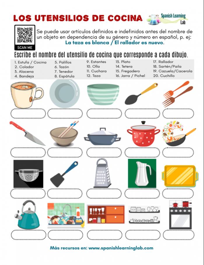 Kitchen Utensils In Spanish