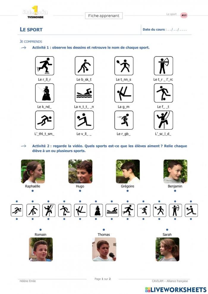 Les Sports Au Collge Worksheet