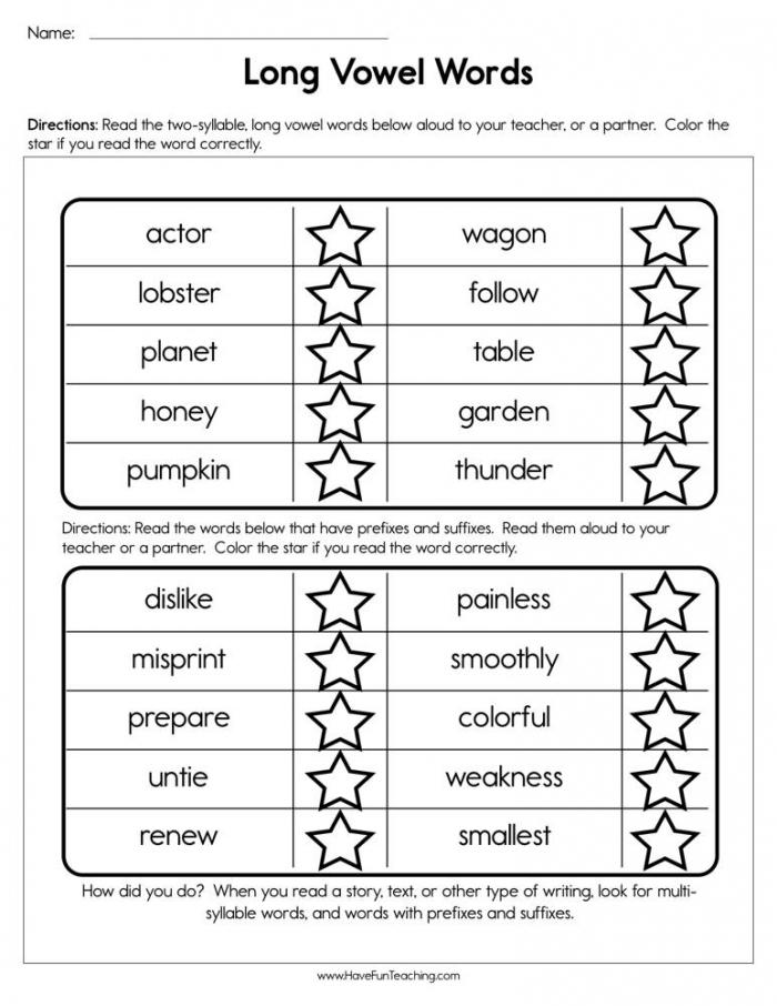 Long Vowel Words Worksheet Have Fun Teaching