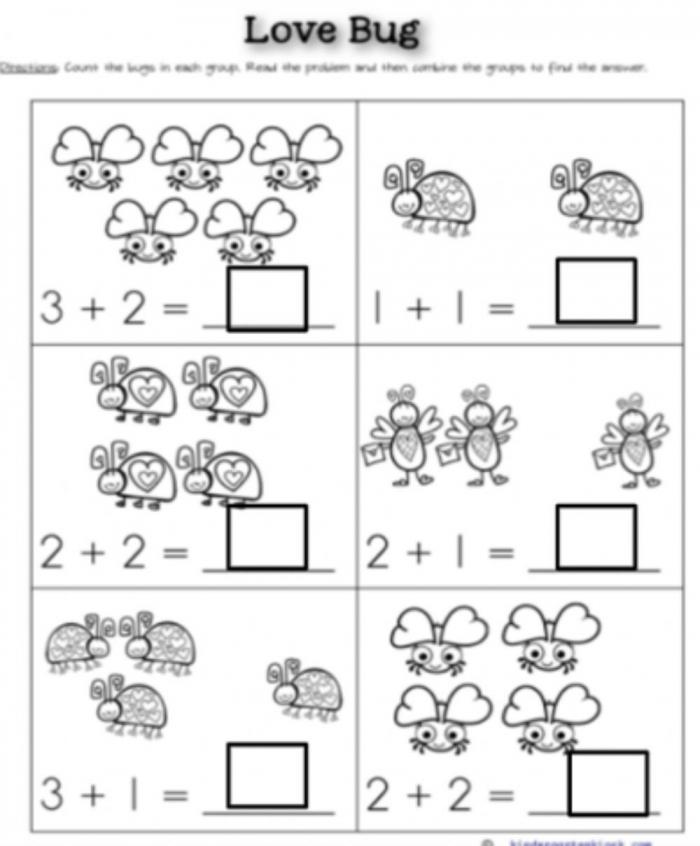 Love Bug Addition Worksheet