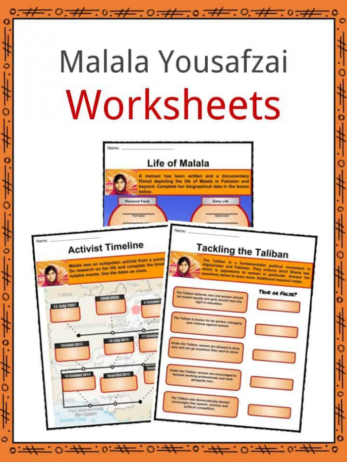 Malala Yousafzai Facts Worksheets Life Achievements For Kids