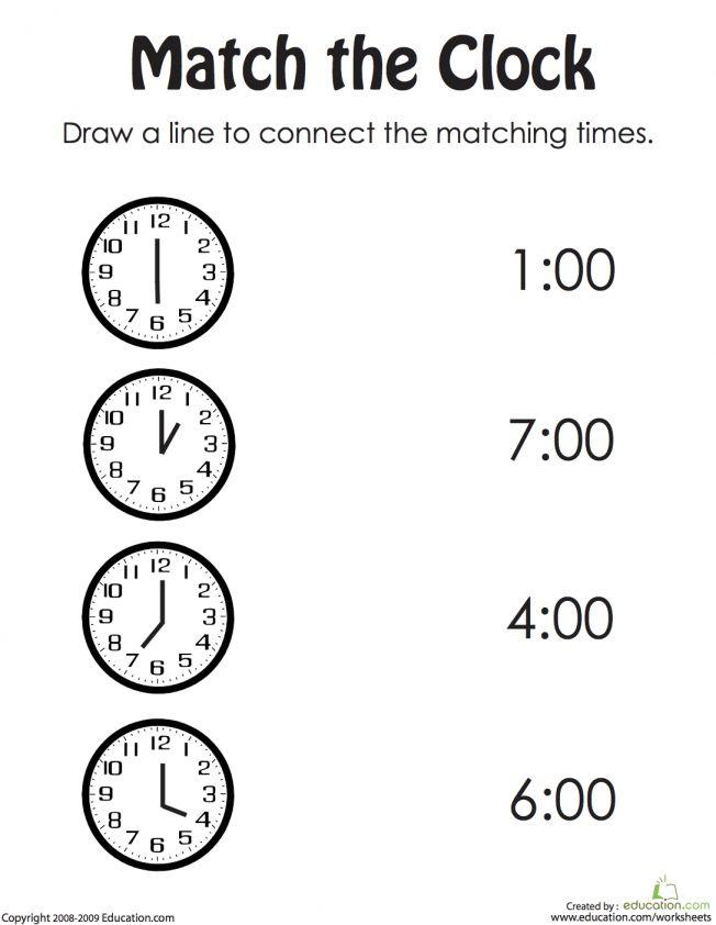 Match The Clock Worksheet Free Kindergarten