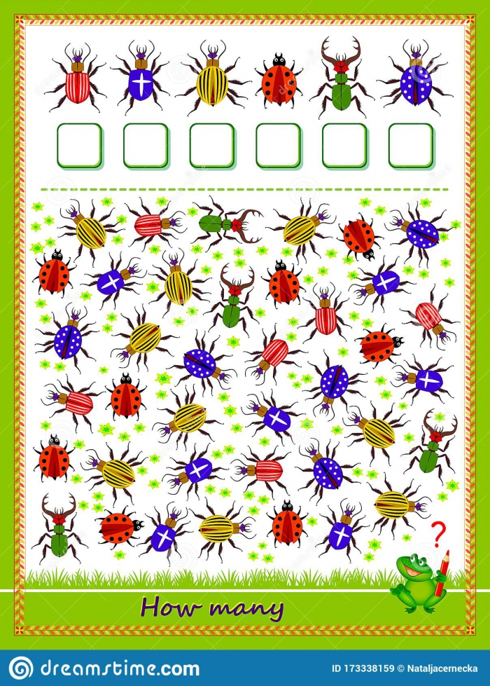 Math Education For Children Count Quantity Of Bugs And Write