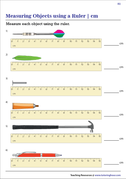 Measuring Objects Using A Ruler In Centimeters Worksheets