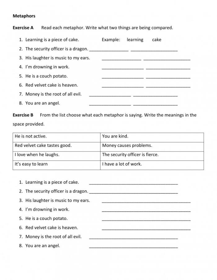 Metaphors Worksheet