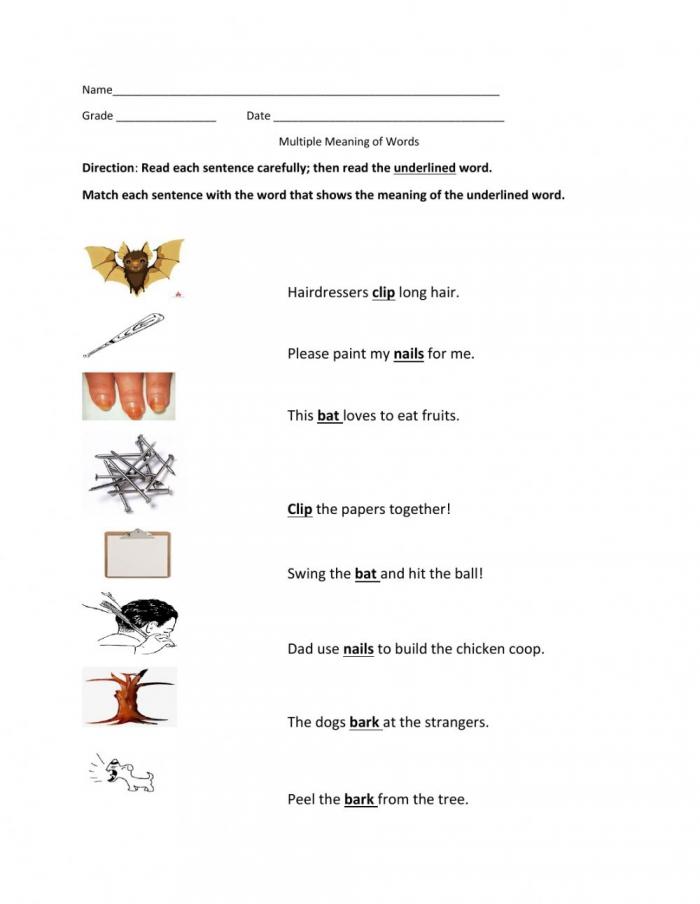 Multiple Meaning Of Words Worksheet