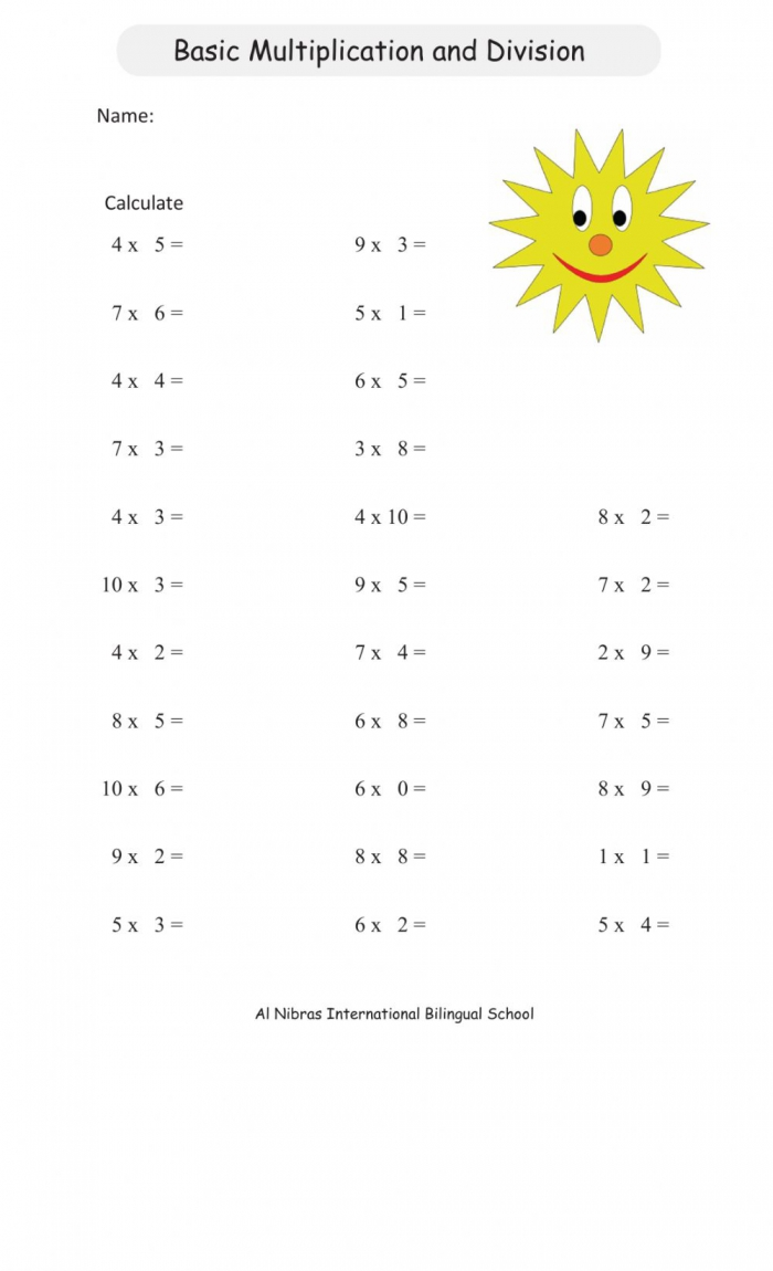 Multiplication Division Facts Review Worksheet