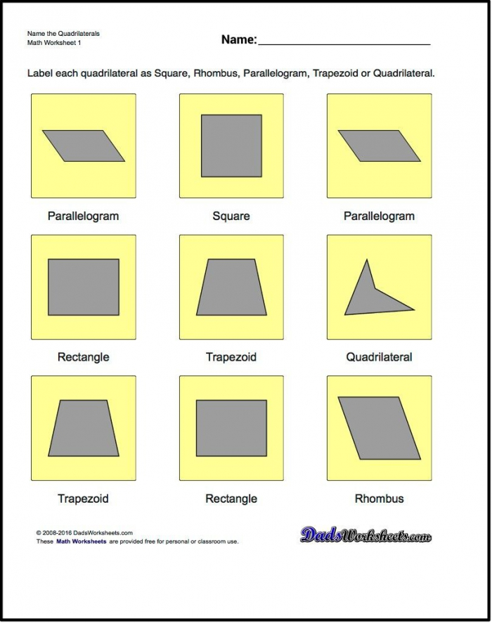 Name The Quadrilaterals Basic Geometry Worksheet Name The