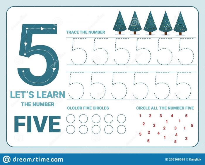 Number Five Tracing Practice Worksheet Training Write And Count