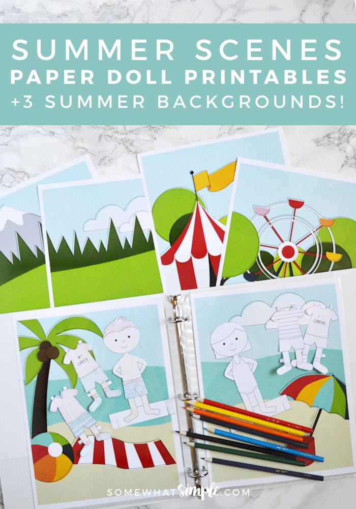 Paper Dolls Printables Make Your Own Summer Scenes