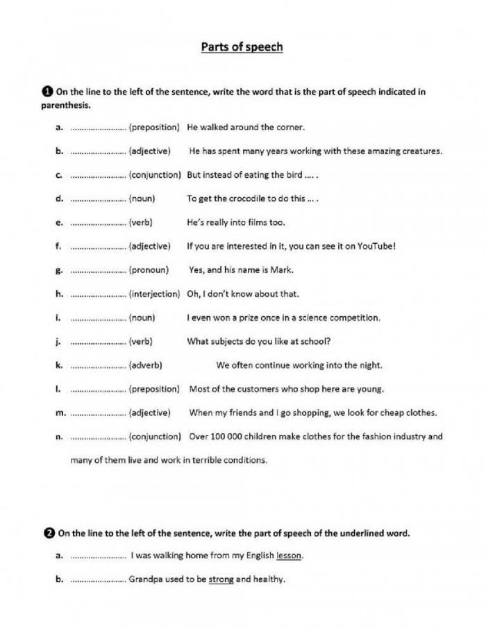 Parts Of Speech Practice Worksheet