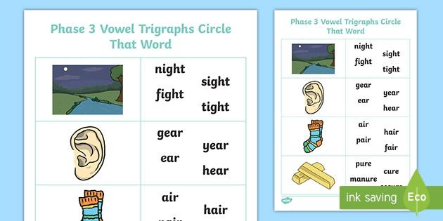 Phase Vowel Trigraphs Circle That Word Worksheet