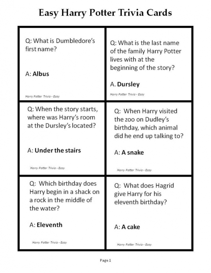 Printable Trivia Questions For Harry Potter And The Sorcerers