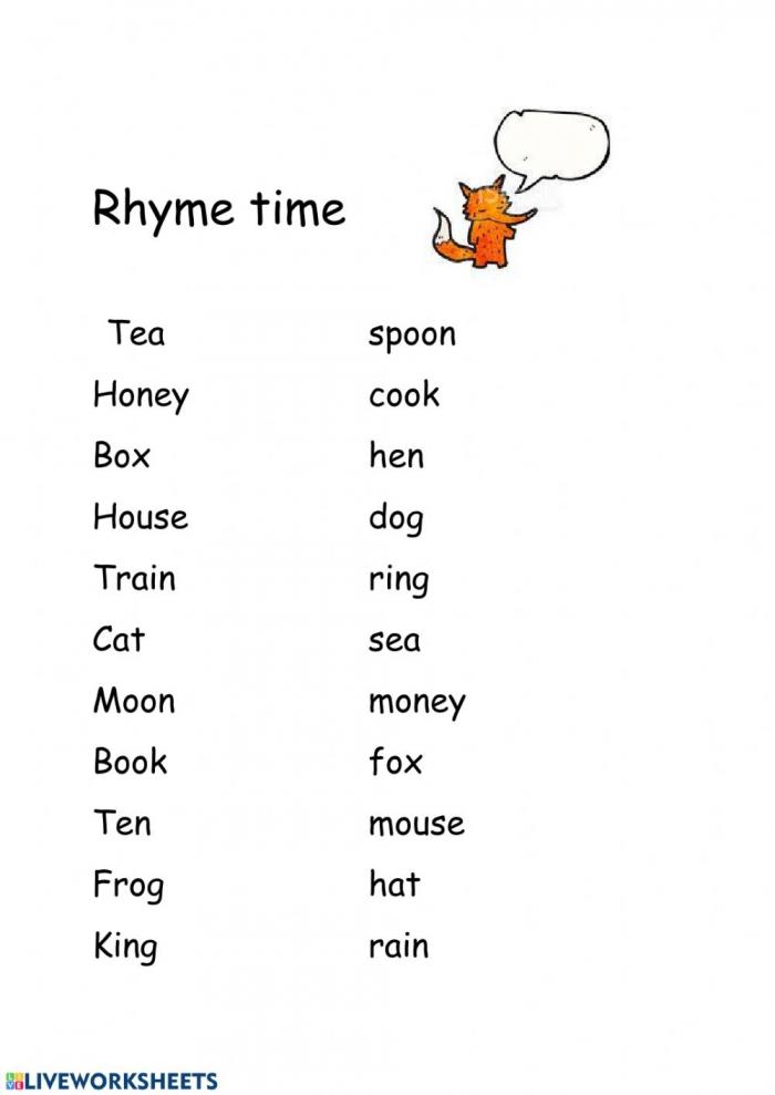 Rhyme Time Interactive Worksheet
