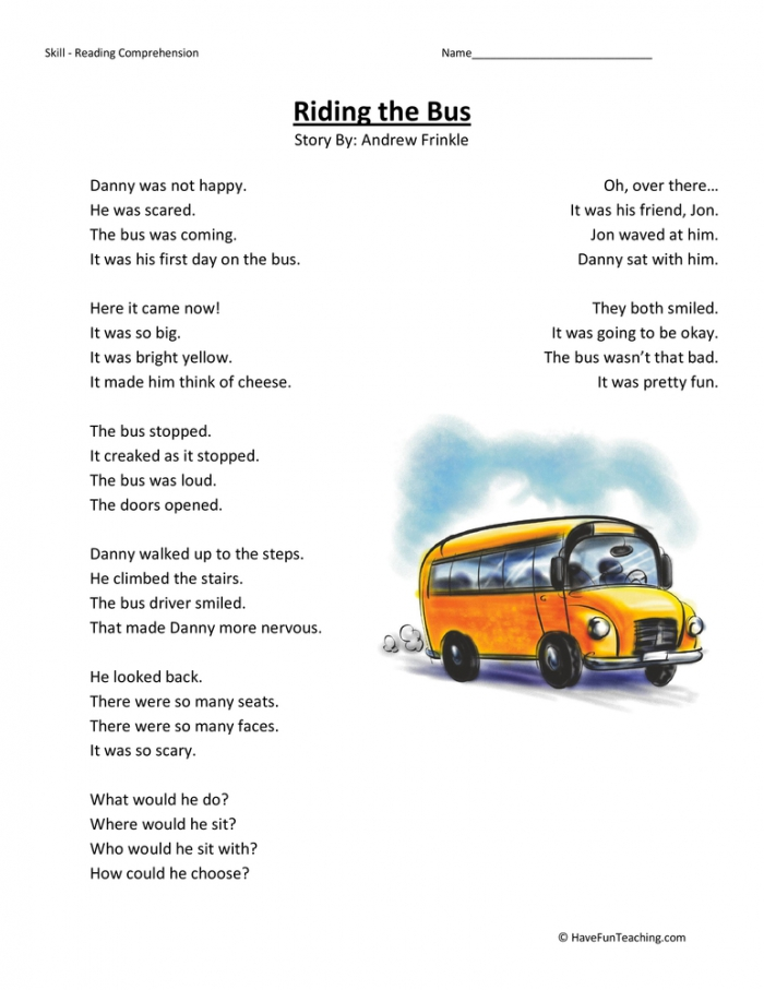 Riding The Bus Reading Comprehension Worksheet Have Fun Teaching