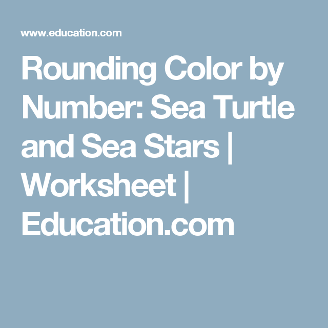 Rounding Color By Number Sea Turtle And Sea Stars