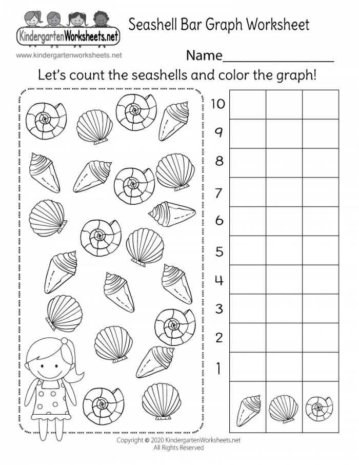 Seashell Bar Graph Worksheet For Kindergarten